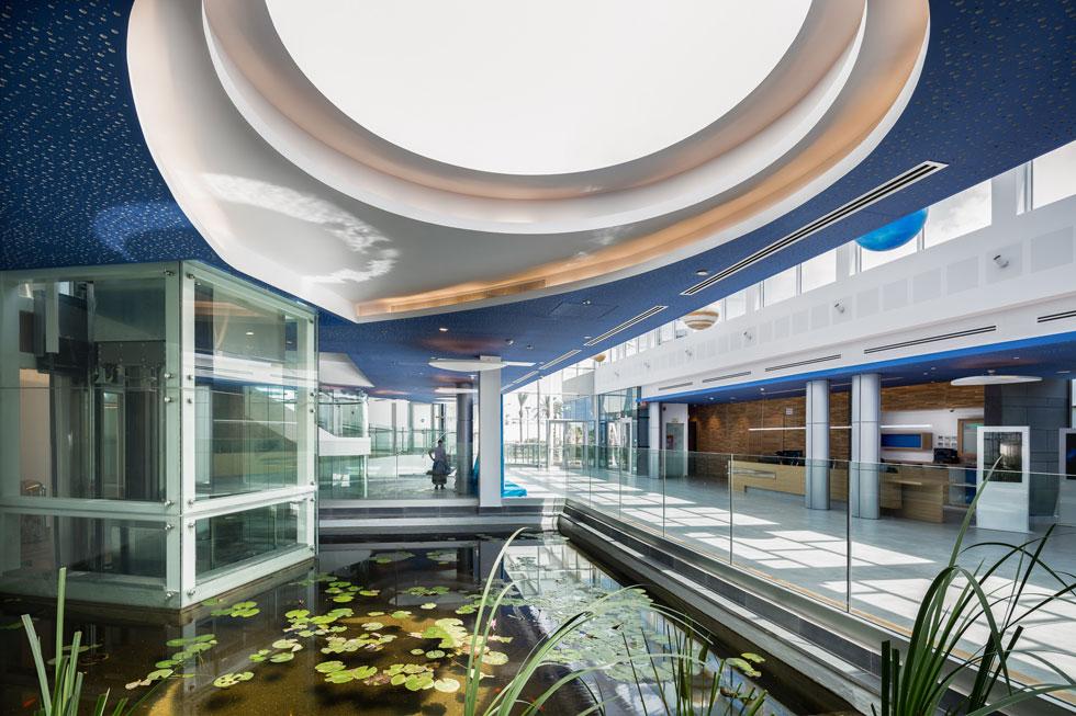 המבואה של ''פלנתניה'', בתכנון האדריכל מרסלו מרטוביסקי, משתרע על פני 1,200 מטר רבוע (צילום: אינסה ביננבאום)